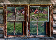 20150617_PALOUSE JUNE 17_20150617-DSC_3174PALOUSE, WASHINGTON- (Bonnie Forman-Franco) Tags: palouse easternwashingtonstate washingtonstate washington window reflections farmequipment green orange bonnieformanfranco bonnie photoladybon photography photographer outdoorphotography abandoned abandonedhomes abandonedfarms ruraldecay decayed reflectionphotography nonhdr