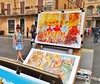 Rome - Piazza Navona - May 2015 - Colourful Tourist Candid (Gareth1953 All Right Now) Tags: rome japanese tourist posing girl young woman slight slim cute colourful outfit miniskirt matching top red bow legs crossed barefoot coy artwork painting yellow blue ballet dancers candid