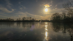 Winter Sun (colinbristow) Tags: park lake leybourne ice water sun midday