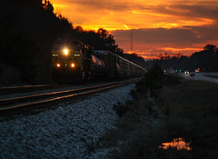 Amazing Winter Sunset (weshendrix) Tags: csx abbeville subdivision atlanta division hull georgia ga train railfan railroad railfanning railroading auto autorack manifest ge ac4400cw diesel engine locomotive vehicle outdoor sunset winter sky reflection highway traffic