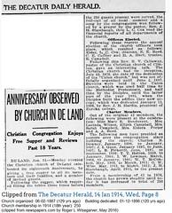 DeLand, IL Christian Church 18th anniversary - 01-1914 (RLWisegarver) Tags: piatt county history monticello illinois usa il