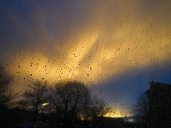 Rain and Sunset (Smiffy'37) Tags: sunset rain sky atmosphere landscape yellow drama