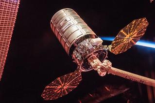 Cygnus Cargo Spacecraft at Sunrise