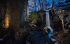 Lumsdale falls (J C Mills Photography) Tags: lumsdale matlock waterfall fall falls exposure light painting industrial revolution heritage abandoned ruin winter snow night blue hour