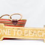 Gone to the Beach Sign with bag and Hat thumbnail