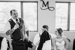 The Groom is Moved to Tears by the Best Man's Speech (nichols_) Tags: wedding weddings weddingphotography photojournalism black white bw moments candid documentary photography best man groom bride brides toast toasts sigma35mmf14art canon 6d