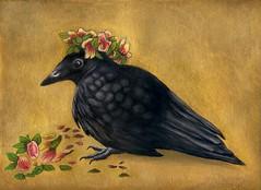 Prince Edgar (Tina Banda) Tags: crow fledgling edgar princeedgar celebrationoflife edgarallancrow gouache goldpaint luminous crownofflowers birdfriend nurserylife