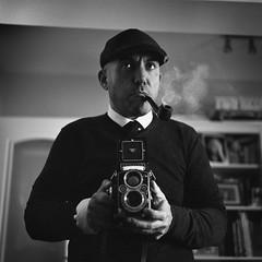 Self. First Shot of 2018 (oscarparadela.com) Tags: self selfportrait selfie autoretrato rollei rolleiflex rollei35f planar tlr film kodak tmax pushed iso1600 twinlens blackandwhite oscarparadela mediumformat 6x6