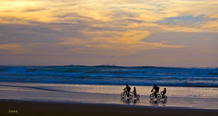 Riders on The Shore (creepingvinesimages) Tags: pacific ocean sand beach water surf tandem bicycles annonbeach oregon nikon d7000 pse14 topaz