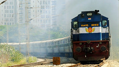 Happy New Year 2018 !!! (sriguru05) Tags: railfanning raildrishti indianrailways locomotive trainspotting railroad train engine track panasonic lumix fz300 4k diesel vatva vivek smoking alco tuticorin okha