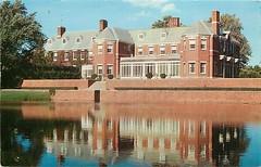 Allerton House & reflection, Monticello, IL c1955 (RLWisegarver) Tags: piatt county history monticello illinois usa il