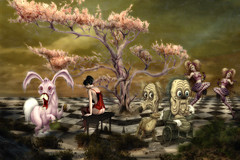 Pink Bunny (brian_stoddart) Tags: weird surreal odd peculiar colours tree characters checks