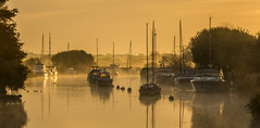 Morning Mist on the Frome (Nick L) Tags: frome riverfrome dorset wareham reflection landscape river yachts boats bouys masts mist misty