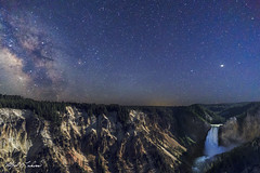 Milky Way At Lower Falls_T3W0605_0617 (Alfred J. Lockwood Photography) Tags: alfredjlockwood nature nightscape timestack waterfall milkyway lowerfalls lookoutpoint grandcanyonofyellowstone yellowstoneriver stars composite summer wyoming