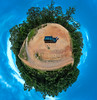 Off Road (Al Kerr) Tags: glass house mountains offroad trees sand sky mini planet world 360 degree panoramic car people australia queensland