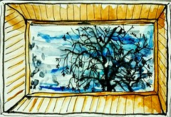 Vue par le Velux de la chambre. (cecile_halbert) Tags: dessin draw drawing drawer croquis sketch sketchers sketching sketchbook drawingbook carnet paysage landscape arbre tree fenêtre window usk urban urbain urbansketchers urbansketching ink encre aquarelle watercolor moleskine