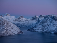 Twilight in northern Norway. The sun this time of the season never goes above the horizon, creating a beautiful light. (frodekoppang) Tags: norway northernorway mountains bluehour twilight olympusomdem5markii olympus fjord ocean winter