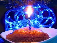 beautiful boxing-day/birthday baklava with itty-bitty blue bulbs (muffett68 ☺ heidi ☺) Tags: underatree alliteration baklava candle birthday boxingday ansh scavenger13 flames