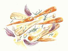 roasted vegetables (Sharon Farrow) Tags: vegetables veg food foodanddrink foodillustration illustratedfood roastedvegetables parsnips carrots health healthyeating healthyfood drawing paint handdrawn mixedmedia sharonfarrow illustration illustrator