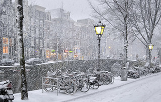 Snow blizzard in the Red Light district of Amsterdam