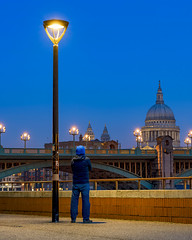 Lamp And I (JH Images.co.uk) Tags: london stpauls hdr dri night lamp post bridge southwark portrait man standing