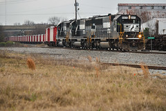 Candy Canes and 60's (weshendrix) Tags: norfolk southern ns train railfan railroad railfanning railroading freight rock local macon georgia ga griffin district edgewood emd sd60 standard cab diesel engine locomotive vehicle outdoor clouds cloudy
