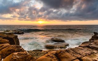 Overcast Sunrise Seascape and Rock Platform