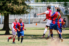 two by two (.sanden.) Tags: soccer action jump park ca california 100400mm men unicef red blue jersey headtheball canogapark unitedstates us sanden