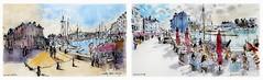 Honfleur- Normandie - France -  ébauches à la Raoul Dufy (guymoll) Tags: dufy raouldufy ébauche ebauche aquarelle watercolour watercolor pen plume honfleur normandie port bateaux croquis draft