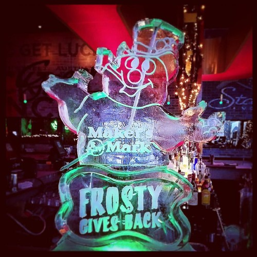 Frosty giving back @greenlightsocial tonight with @makersmark spreading #holiday cheer! #fullspectrumice #iceluge #thinkoutsidetheblocks #brrriliant - Full Spectrum Ice Sculpture