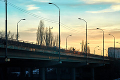 bridge over the river Kuban against the background of the evening sky (uiriidolgalev) Tags: bridge over river kuban against background evening sky