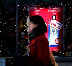 Bombay Sapphire (Owen J Fitzpatrick) Tags: ojf people photography nikon fitzpatrick owen pretty pavement chasing d3100 alcohol editorial use only ojfitzpatrick eire dublin republic city tamron candid joe candidphotography candidphoto unposed natural attractive beauty beautiful woman female lady j along street booze drink retail offlicence christmas xmas bottle window display ireland streetphotography streetphoto dslr digital