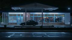 Lakewood Still Life (llabe) Tags: building garage nightshot nightlights night carrepair automotive car lakewood washington nikon d750
