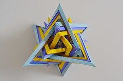 Eighteen Interlocking Triangles (Byriah Loper) (Byriah Loper) Tags: origami origamimodular modularorigami modular compound complex copypaper crease byriahloper byriah paperfolding paper polygon polyhedron triangle wireframe