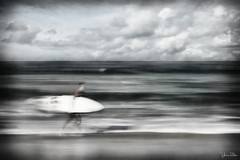 life is flashing by . . . (YvonneRaulston) Tags: australia sydney maroubra beach water surf surfboard waves impressionist boy man person atmospheric art creativeartphotography calm colour clouds dream emotive texture peaceful people sea fineartgrunge icm sky bokeh moody moments morning nsw ocean soft photoshopartistry surreal