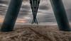 Point de fuite... (ElfeMarie) Tags: océan vagues écume wharf warf lateste bassin arcachon aquitaine architecture structure sable nuages tempete coucher de soleil sunset wave storm sand géométrique