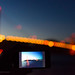 Golden Gate Bridge at dusk viewed through smartphone's camera app