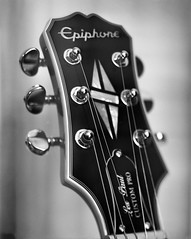 Epiphone Les Paul Headstock (nsandin88) Tags: instrument viewcamera 4x5 standdevelopment aristaedu100 ishootfilm largeformat lespaul epiphone guitar music film developedathome
