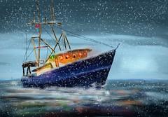 Home for Christmas ... (Pat McDonald) Tags: artrage digitalart harryroughers heavyweather ship sea sailor roughseas retrato waves redensign redduster winter snow christmas
