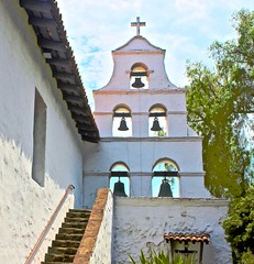 Mission San Diego de Alcalá (iseedre) Tags: church steeple bells ropes eves roof tile courtyard plasterwalls steps stairsarches trees sky sandiego mission platerwalls stairs tileroof