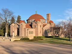 The historic 1908 Lakewood Memorial Chapel in Minneapolis, Minnesota,  The chapel was designed by architect Harry Wild Jones.  The Byzantine Revival design was based on Hagia Sophia in Istanbul, Turkey (thstrand) Tags: holy sacred christianity christian redtiles lakewoodcemetery destinations destination structures builtstructure buildings building nationalregisterofhistoricplaces history historicsite 19001909 1908 1900s early20thcentury harrywildjones byzantinerevival dome tileroof stone nobody exterior religion religiousarchitecture church us usa unitedstatesofamerica american mn minnesota minneapolis lakewoodmemorialchapel