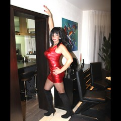 Too much! (ailananata) Tags: overknee boots boobs ravenhaired shiny highheels minidress milf tgirl transvestit transgender tranny trap crossdresser curvy cfmshoes sexy stockings slutty skintight hugebreasts nylon shemale u