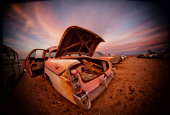 V8 (Maureen Bond) Tags: ca maureenbond desert abandoned mojave rusty cristy pinl sunset twilight beforethemoon night moon sand clouds trunk hood door classic wonderland peaceful v8