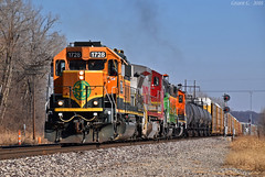 """Westbound Local in Birmingham, MO (""""Righteous"""" Grant G.) Tags: bnsf ns norfolk southern railway railroad emd power locomotive west westbound local transfer freight missouri kansas city signal"""