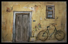 Painting (patrick.verstappen) Tags: mixedmedia house door old watercolor pen inkt nutwater fabriano flickr facebook bike painting art photo picassa pinterest pat ipernity ipiccy yahoo gingelom google belgium nikon d7100 sigma december 2017 paper