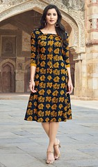 Blue and Yellow Color Cotton Printed Tunic