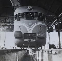 Israel Railways - ISR diesel-hydraulic train (Maschinenfabrik Esslingen) - Lydda Junction maintenance depot in 1956 (HISTORICAL RAILWAY IMAGES) Tags: train israel railways isr diesel esslingen mfe triebwagen קרונוע רכבת ישראל