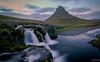 in the evening at Kirkjufell and Krikjufell waterfall (einisson) Tags: kirkjufell kirkjufellsfoss waterfall water mountain rocks snæfellsnes grundarfjörður evening iceland ísland sky outdoor landscape nature europe einisson canon70d
