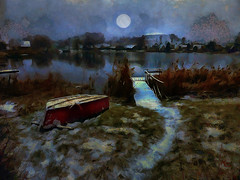 Moonlight Path. (Nellie Vin) Tags: moon light color oil painting nellievin boat atmosphere
