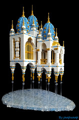 CCC - Fantasy Castle (jaapxaap) Tags: flying fortress levatating castle magic imagination fantasy medieval crazy concept moc afol jaapxaap blue white gold